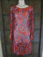 VINTAGE Guy D by LEO NARDUCCI  Red  Sheer Silk Dress Size MEDIUM  1970's FLORAL