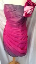 Jora Cocktail Prom Dress Pink/Grey Ruffles One Shoulder Flower Corsage XL + Wrap