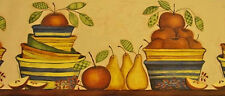 Brewster Primitive Country Bowls, Apples & Pears Wallpaper Border - FDB05801