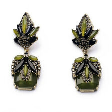 NEW Stylish J CREW Abstract Crown Green Back Beaded Rhinestons Statement Earring