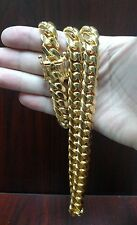 "28"" 14k Gold Plated  925 Sterling Silver Miami Cuban Link Chain, 13 mm 250 grams"