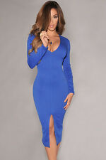Blue Long Sleeve V Neckline Clubwear Party Slim Midi  Dress One S10-12