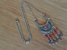 Moroccan Berber African Jewelry: Half-Moon Necklace Five Drops Red