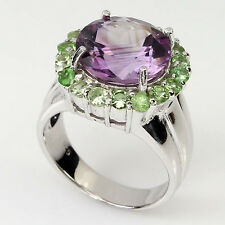 Sterling Silver 925 Genuine Natural Amethyst & Tsavorite Ring Size O1/2 US 7.5