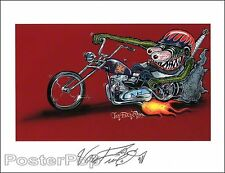Von Franco Monster Biker Signed 8.5x11 Print Hot Rod Painting Motorcycle Fink