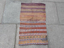 Old Hand Made Persian Oriental wool Red Blue Colourful kilim Runner 90x56cm