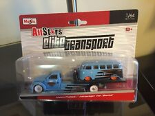 VHTF 1/64 Maisto Allstars Elite Transport Flatbed With Volkswagen Samba Van