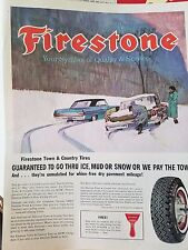 1963 Firestone Tires Snow Ice Winter Tire Care Original Ad