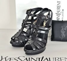 YSL BLACK LEATHER STRAPPY ANKLE STRAP 105 HEEL SANDALS SHOES PLATFORM NEW 39 US9
