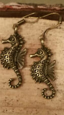 Ladies Girls Antique Bronze Sea Horse Charm Hook Earrings Ocean Fish Vintage