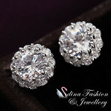18K White Gold Plated Simulated Diamond Exquisite Large Flower Stud Earrings