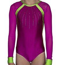 Gymnastics purple long mesh sleeves Leotard & 2 Hair Scrunchie  size 30 age 9-10