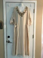 Soft Surroundings Beaded Embroidered Striped Cotton Flax Beach Cabana Dress 2X