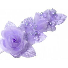 "3 lavender Silk Pearl & organza flower  Corsages 5""x 2.5 with pearl pin"