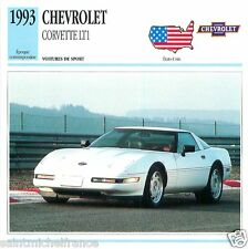 CHEVROLET CORVETTE LTI 1993 CAR VOITURE USA ETATS-UNIS CARTE CARD FICHE