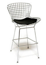Bertoia Wire Bar Stool With Black Cushion