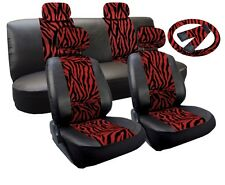 Premium Synth Leather Seat Cover Full Set Red Zebra Accent Black Leatherette