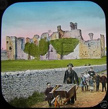 COLOUR Glass Magic Lantern Slide MIDDLEHAM CASTLE WENSLEYDALE C1890 PHOTO