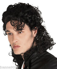 *Mens 80s BAD Michael Jackson Pop Rock Music Star Fancy Dress Costume Black Wig*