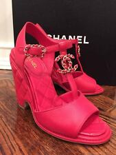 NIB Chanel 16C Red Quilted Leather Chain CC Logo Wedge Sandal Heel 41 $1175