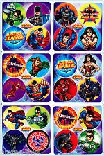 Justice League Dots Stickers x 24 (6 sheets) - Favours - Super Heros! DC Comics