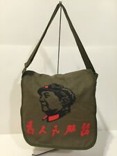 Chinese Chairman Mao Service For The People Olive Canvas Messenger Bag