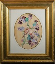 Antique H. Lane Floral and Bird Oil Painting on Paper, Listed Artist, NICE!