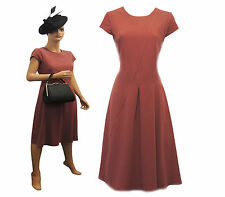 New Ladies Vintage Nostalgia 1930s 40s WW2 Style Wartime Crepe Tea dress UK 8