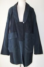 ANTONIO MARRAS Dark Blue Suede Leather Linen Deconstructed Coat M L