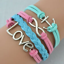 Solid Sterling Silver Plated 925 Leather Blue Pink Women Bracelet Wristband A68