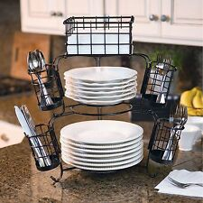 Giftburg 7-Piece Stackable Buffet Party Caddy Spoons Forks Cutlery Holder Server