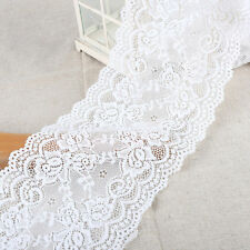 EL13- 3m x15cm IVORY White Vintage ELASTIC Lace Bridal Wedding Trim Ribbon CRAFT