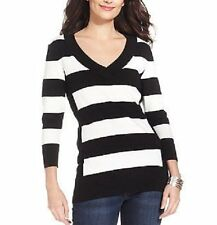 Style&Co. Sweater Top Woman Sz 2X Whiter White Black Thin Striped Casual V-Neck