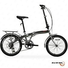"20"" Folding Bike Silver Bicycle 6 Speed Foldable Storage Shimano School Sports"