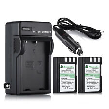2 x 2000mAh Batteries + Charger For Nikon EN-EL9A D5000 D3000 D3X D60 D40 D40X