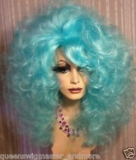 Drag Queen Wig Big Teased Extra Big Turquoise Teal Blue Long Curls
