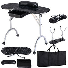 Black Manicure Nail Table Portable Station Desk Spa Beauty Salon Equipment New