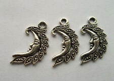 12pcs Tibetan silver ship charm pendant in the shape of the moon  27x15mm
