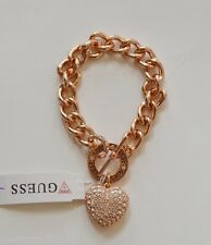 NEW GUESS ROSE GOLD TONE CHAIN LINK WOMEN BRACELET w/ PUFFED HEART PENDANT+TAG
