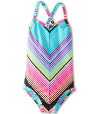Roxy Girls -5- 1 Pc Swimsuit Cross Over Pink Blue Stripe Monokini Teenie Wahine
