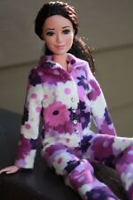 Clothes for Barbie Doll. Purple flowers Flannel Pajamas for Dolls.