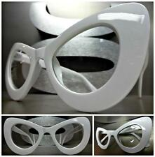 CLASSIC Exaggerated VINTAGE 60s CAT EYE Style Clear Lens EYE GLASSES White Frame