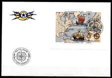 Wiking L.Eriksson und Chr.Kolumbus. Segelschiffe. FDC. Block. Island 1992