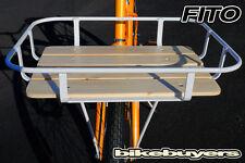Fito Wood-Bottom Flat Aluminum Alloy Mounting Basket Beach Cruiser Bikes - White