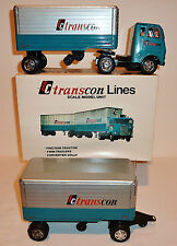 Made in JAPAN Tin Litho Friction 1960s TRANS-CON LINES TWIN TRAILER SEMI w/ BOX
