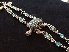 Retro silver / Crystal bracelet with full central turtle all handmade stunning