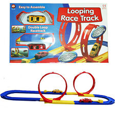 KIDS CHILDRENS 18 PCS DOUBLE LOOP CAR RACE TRACK RACING TOY WITH 2 CARS GIFT