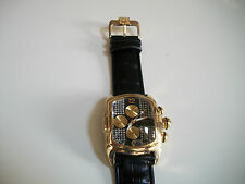 ELEGANT BLACK/ GOLD FINISH LEATHER BAND MEN'S CHRONO LOOK FASHION WATCH