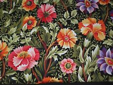 Bright Cheerful Flowers Kona Bay Fabric GAZI-01 Red Orange Purple Green BTY