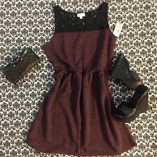 NWT $69 Cute Vintage Style Dress By Maison Jules In Burgundy & Black Size M.